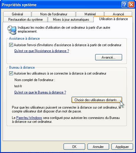 connexion bureau à distance windows xp travail à distance avec windows xp universal document