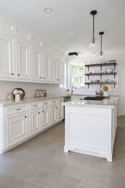 tile floor kitchen white cabinets gen4congress