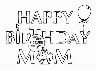Template Birthday Mom Printable Coloring Cards Card