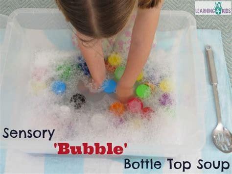 sensory bottle top bubble soup learning  kids