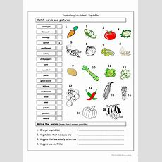 Vocabulary Matching Worksheet  Vegetables Worksheet  Free Esl Printable Worksheets Made By