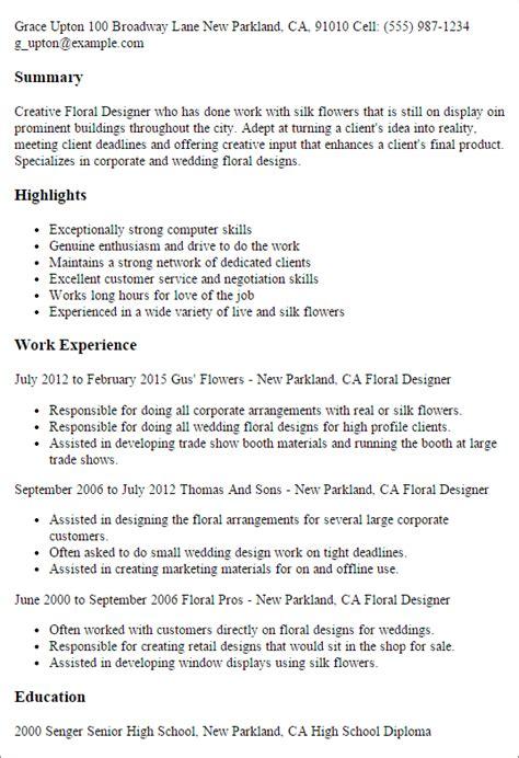 floral designer resume cover letter professional floral designer templates to showcase your