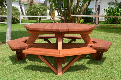 picnic table bench octagon picnic table wood picnic table with attached bench