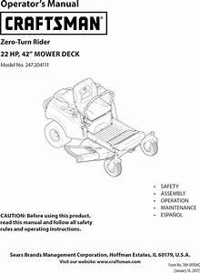 Craftsman 247204111 1502411l User Manual Zero Turn Riding