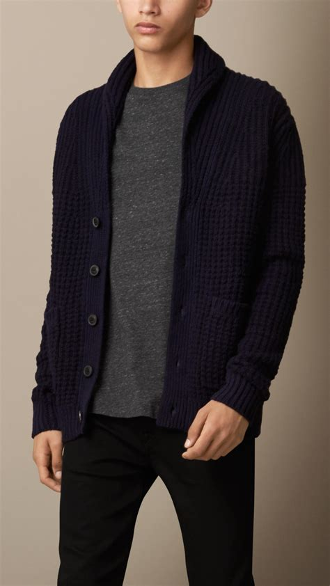 lyst burberry shawl collar wool cashmere cardigan  blue  men