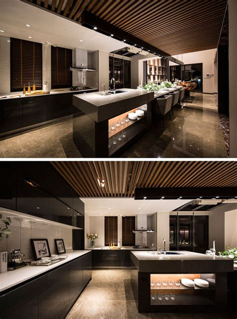design detail  extra long kitchen island