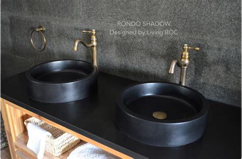 16 quot black granite vessel sink rondo shadow