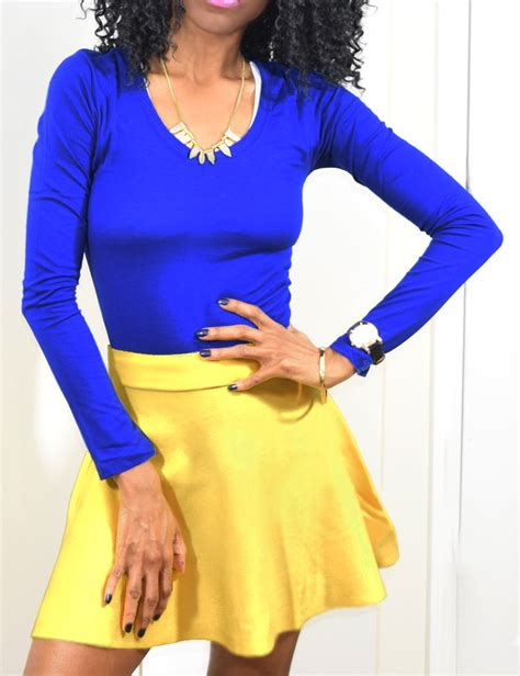 Blue top yellow skirt - My Fashion Wants