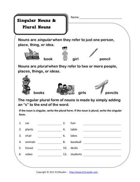 singular  plural nouns kindergarten noun worksheet