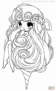 Chibi Cotton Candy Girl Coloring Page Free Printable