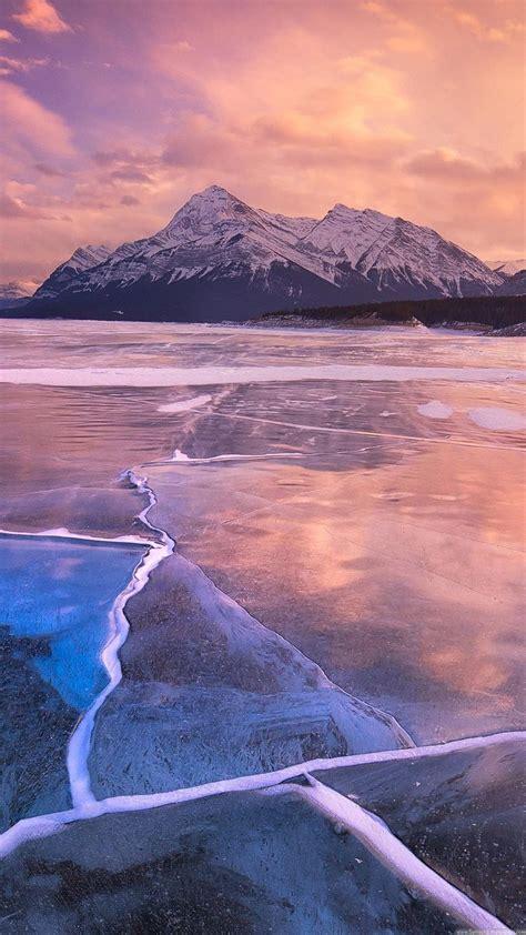 nature iphone   wallpapers frozen lake sunset lock