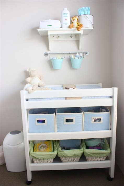 table ls for baby nursery love the idea of hanging pales above changing table to