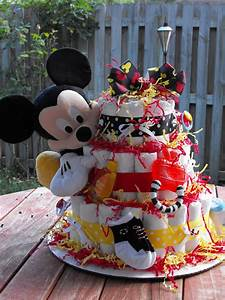 Mickey Mouse Diaper Cake Made With 65 Baby Diapers And