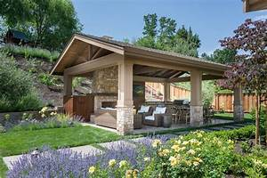 detached covered patio traditional with outdoor fireplace