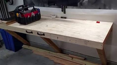 garage storage folding workbench update youtube
