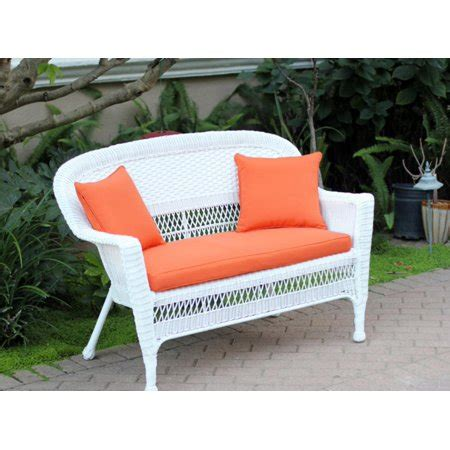 White Wicker Loveseat by 51 Quot White Resin Wicker Patio Loveseat Tangerine
