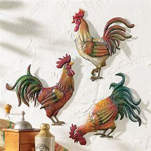 Country kitchen rooster theme decor set of metal