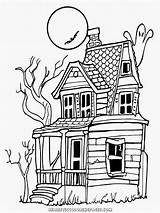 Coloring Halloween Realistic Adults Drawing Bing Haunted sketch template