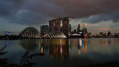 Singapore Marina Sands Bay Night Casino Buildings