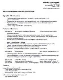 admin assistant resume keywords resume sle for administrative assistant experience