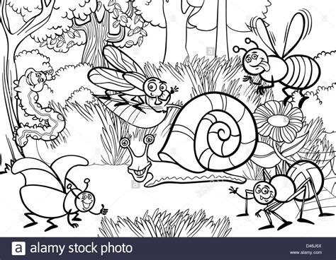 Black And White Cartoon Illustration Of Funny Insects Or