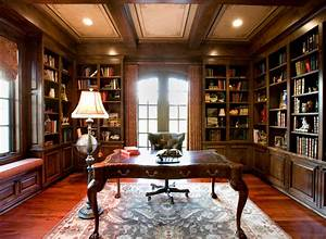Rustic style home office library interior ideas with for Enjoyable home library design to complete your home interior