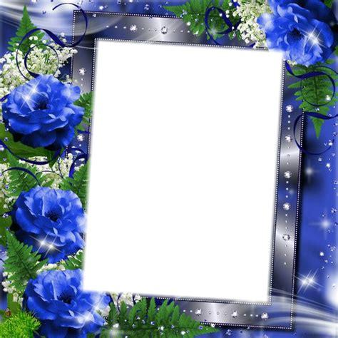 montage photo cadre fleurs bleu pixiz