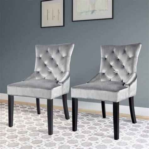 tufted accent chair in grey set of 2 lad 480 c