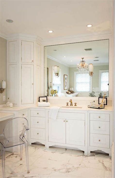 Built In Vanity Cabinets For Bathrooms by Stunning Bathroom With Wraparound Corner Vanity Featuring