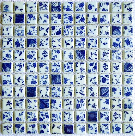 celadon mosaics tile china blue and white floral