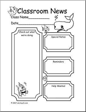 Classroom Newsletter: Fish theme (b/w) | abcteach