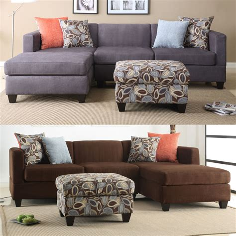Chaise And Ottoman by 3 Pc Charcoal Chocolate Microfiber Reversible Chaise