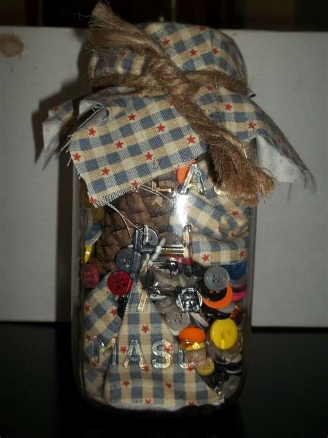 primitive decor mason jar  fabric  buttons ebay