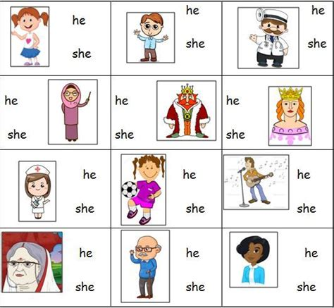 personal pronouns worksheet for he and she classroom