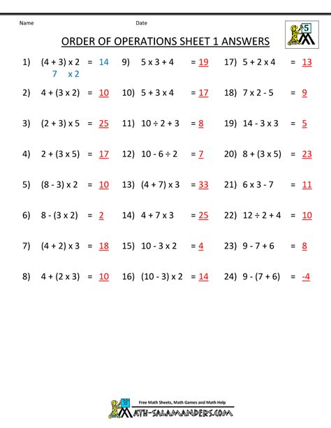 worksheet math aids order of operations answers
