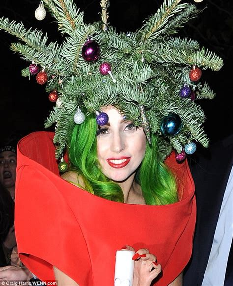 gaga christmas tree mp3 guess who dressed up as a tree to leave the jingle bell daily mail