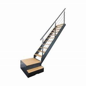 Escalier 1 4 Tournant Droit : escalier 1 4 tournant droit gauche spark led avec rangement castorama ~ Dallasstarsshop.com Idées de Décoration