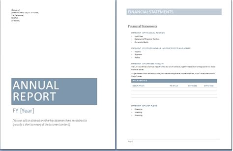 Annual Report Template Free 2016