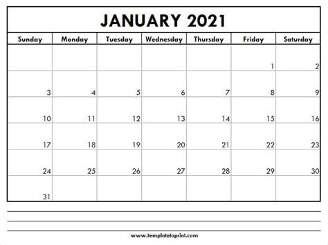 january  blank calendar template  print
