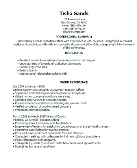 resume for probation officer professional juvenile probation officer templates to showcase your talent myperfectresume