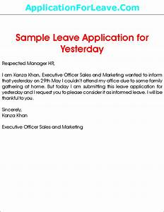 Sample Leave Application for Yesterday