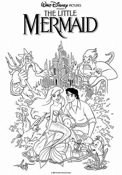 Coloring Movie Poster Flounder Disney Mermaid Princess