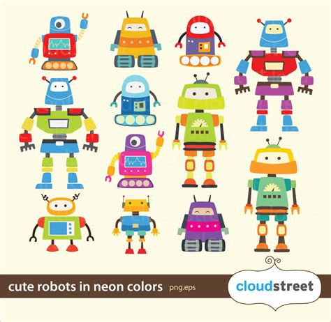 buy clipart buy 2 get 1 free robots clipart in neon for personal and
