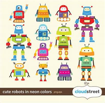 Robot Robots Clipart Clip Neon Commercial Something