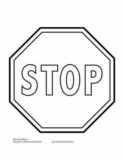 Stop Sign Signs Clipart Clip Coloring Template
