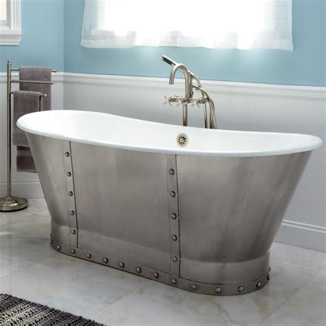 """67"""" Brayden Bateau Cast Iron Skirted Tub With Stainless"""