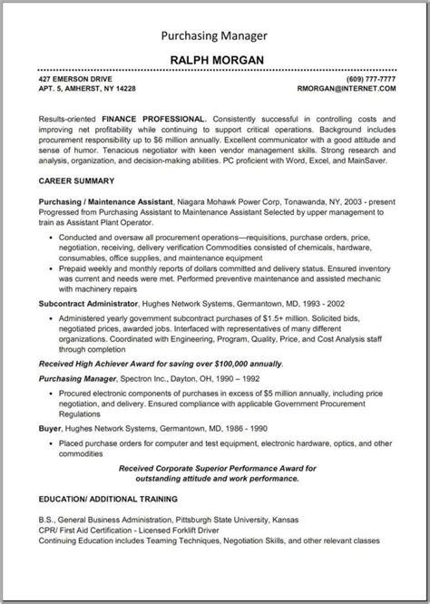 procurement specialist resume sles rimouskois resumes