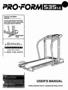 Proform 831298400 User Manual Pro Form Treadmill Manuals
