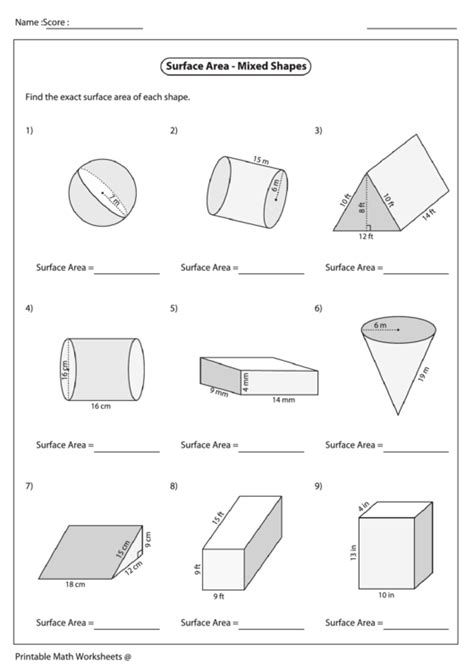 surface area mixed shapes worksheet printable