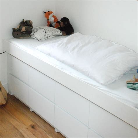 ikea hack bed   malm drawers   house
